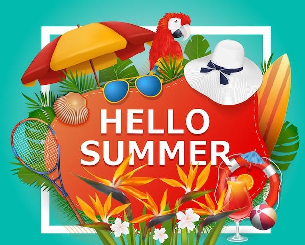 Olá, fundo de verão com plantas e flores tropicais