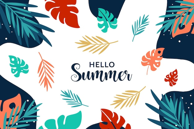 Olá, fundo de verão com plantas exóticas e folhas tropicais