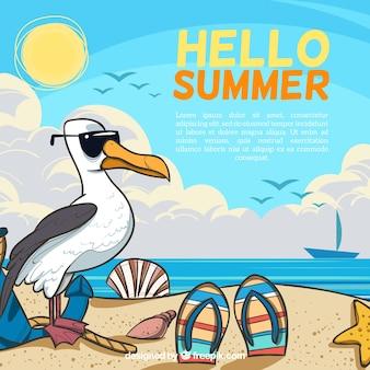 Olá fundo de verão com praia