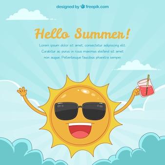 Olá fundo de verão com sol engraçado