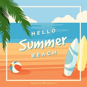 Olá fundo de verão com vista para a praia