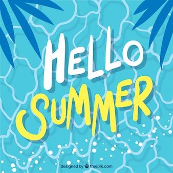 Olá fundo de verão com vista superior da piscina