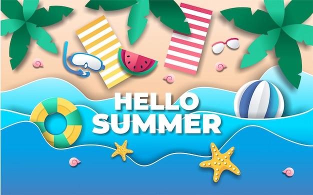 Olá fundo de verão em estilo de jornal