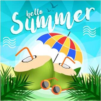 Olá fundo de verão realista