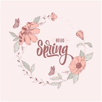 Olá, fundo do modelo de letras de primavera