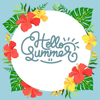 Olá hibisco frame de verão