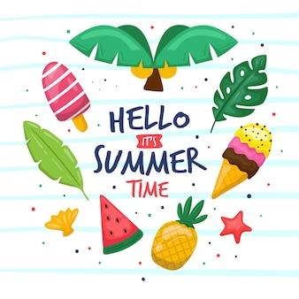 Olá horário de verão mão desenhada