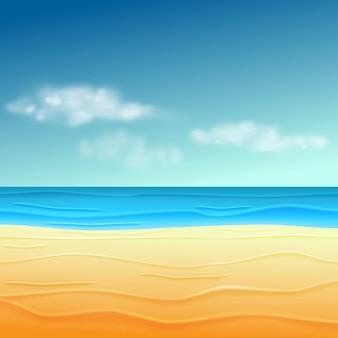 Olá, horário de verão no fundo da praia. Vetor Premium
