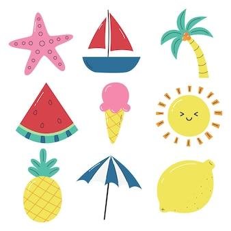 Olá ícones de verão isolados no fundo branco