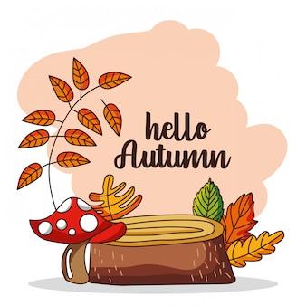 Olá illutration outono com folhas caindo
