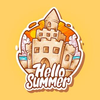 Olá ilustração de castelo de verão Vetor Premium