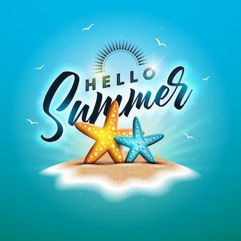Olá ilustração de férias de verão com stasfish