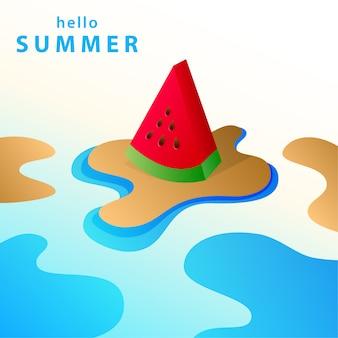 Olá ilustração de fundo de verão