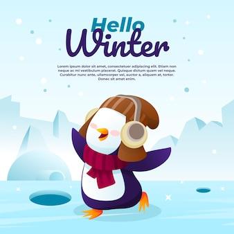 Olá ilustração de inverno com um pinguim fofo