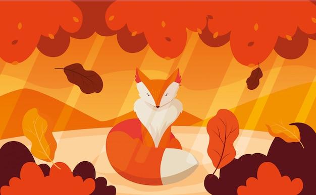 Olá ilustração de outono com animal raposa
