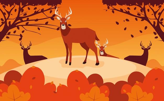 Olá ilustração de outono com grupo de cervos na paisagem