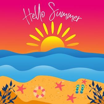 Olá ilustração de paisagem de verão
