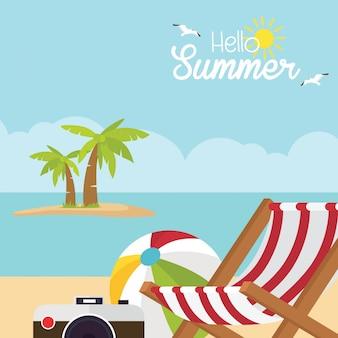 Olá ilustração de praia de horário de verão