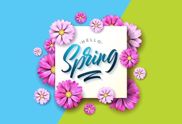 Olá ilustração de primavera com flor rosa