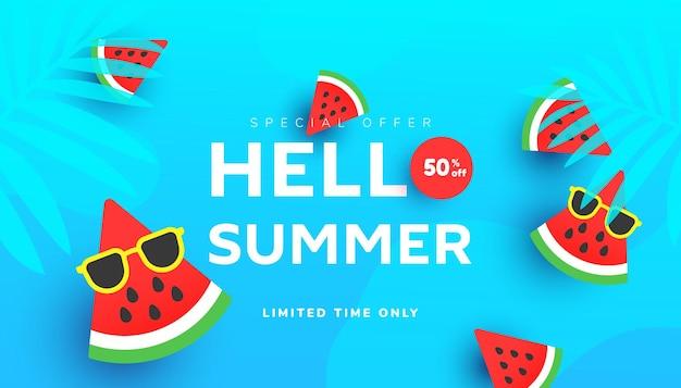 Olá, ilustração de venda de verão com folhas tropicais, fatias de melancia madura