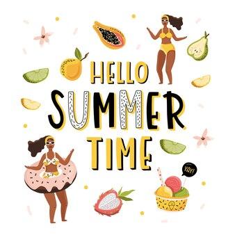 Olá ilustração de verão com a garota e letras.