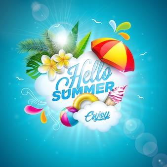 Olá ilustração de verão com flor e bola de praia