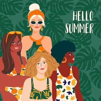Olá, ilustração de verão com meninas com diferentes cores de pele e maiôs