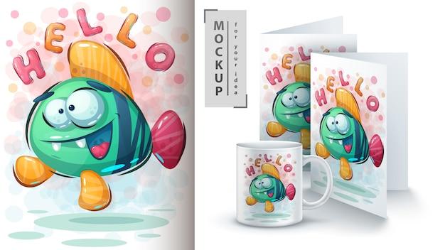 Olá ilustração e merchandising de peixes