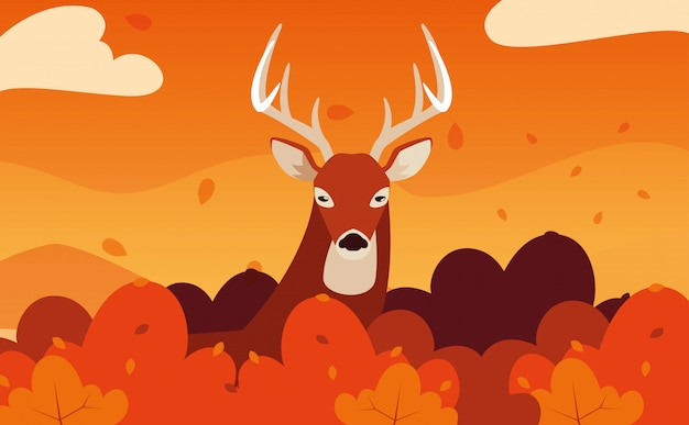 Olá ilustração outono com animal veado