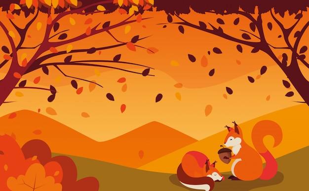 Olá ilustração outono com esquilos e porca