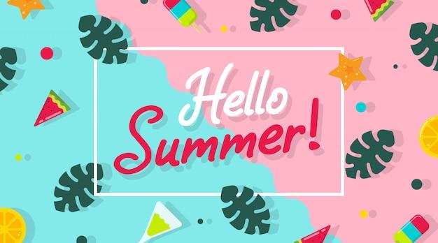 Olá ilustração plana de verão