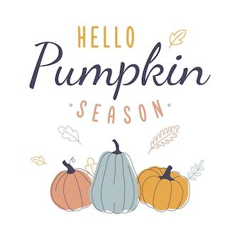 Olá, ilustração vetorial de abóbora para temporada de outono