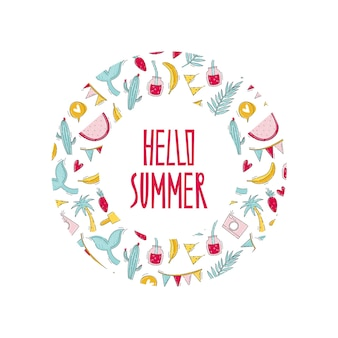Olá, impressão de verão com frutas, mala e itens de viagem em moldura redonda em estilo doodle plano