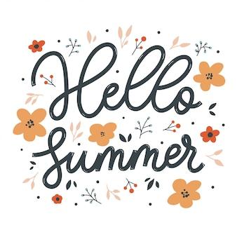 Olá inscrição de letras de verão com flores. cartão de amor