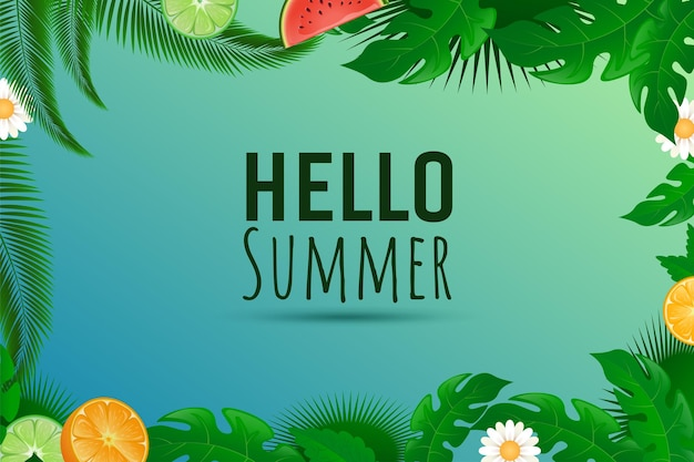 Olá, inscrição de verão com laranja limão fresco e