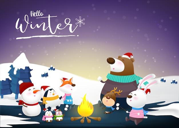 Olá inverno com desenhos animados de animais e neve da noite