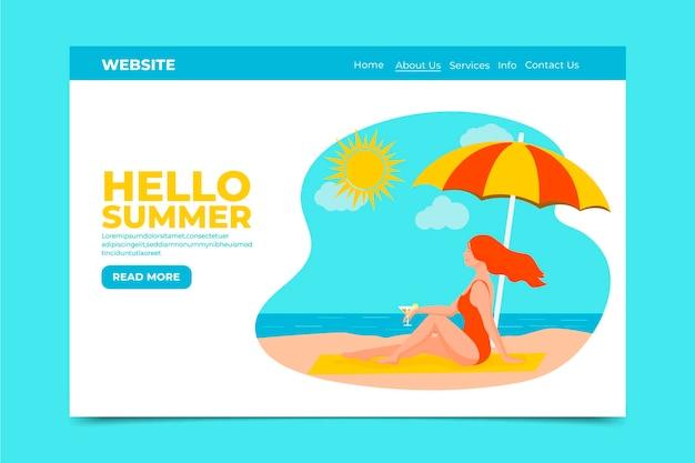 Olá, landing page de verão com mulher na praia