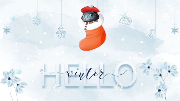 Olá letras de conceito de inverno e gato em estilo aquarela de botas de natal.