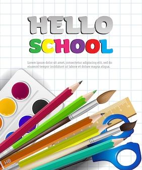 Olá letras de escola e suprimentos em papel quadriculado