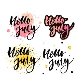 Olá, letras de julho imprimir. ilustração minimalista de verão. caligrafia isolada no fundo branco. raios laranja por trás do texto.