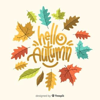 Olá letras de outono com folhas