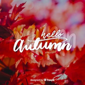 Olá letras de outono com foto