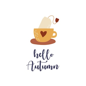 Olá letras de outono com uma xícara e uma xícara de saquinho de chá com coração, temporada de outono
