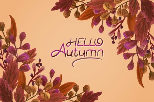 Olá letras de outono em aquarela