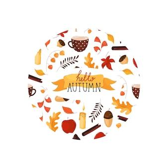 Olá, letras de outono em moldura redonda em estilo simples