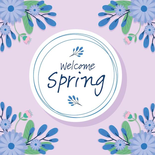 Olá, letras de primavera, cartão sazonal com flores roxas em design de ilustração de moldura circular