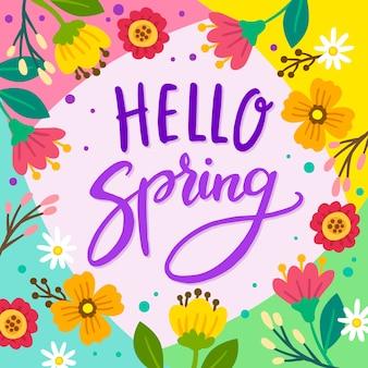 Olá letras de primavera com decoração colorida