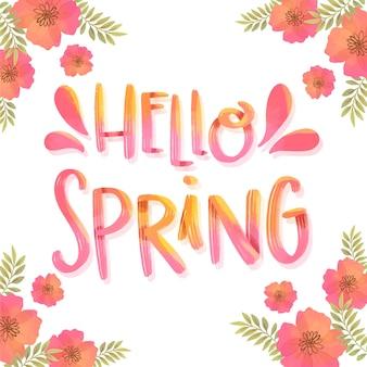 Olá letras de primavera com flores vermelhas