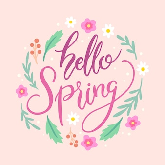Olá letras de primavera com folhas