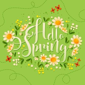 Olá letras de primavera com lindas flores